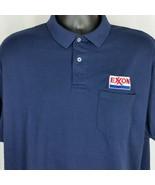 Exxon Mobil Oil Mens XL Shirt Blue Polo Work Uniform Employee Stedman Hanes - $44.99