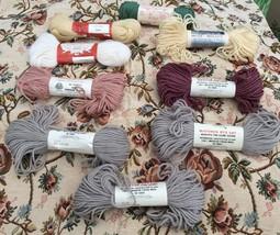 Vtg Lot Yarn 100% Virgin Wool Lady Handicraft Scovill Bucilla 9 Skeins Assortmnt - $35.24