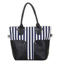 All-match Stripe Canvas Bag Handbag Shoulder Bag Messenger Bag BLUE
