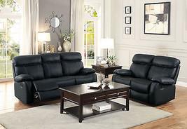 Black Leather Reclining Sofa Loveseat - Comfortable Design Living Room S... - $32.943,46 MXN
