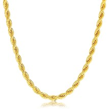 """18K Gold Plated 4mm Stainless Steel Rope Chain Men Women, 20"""" - £22.98 GBP"""