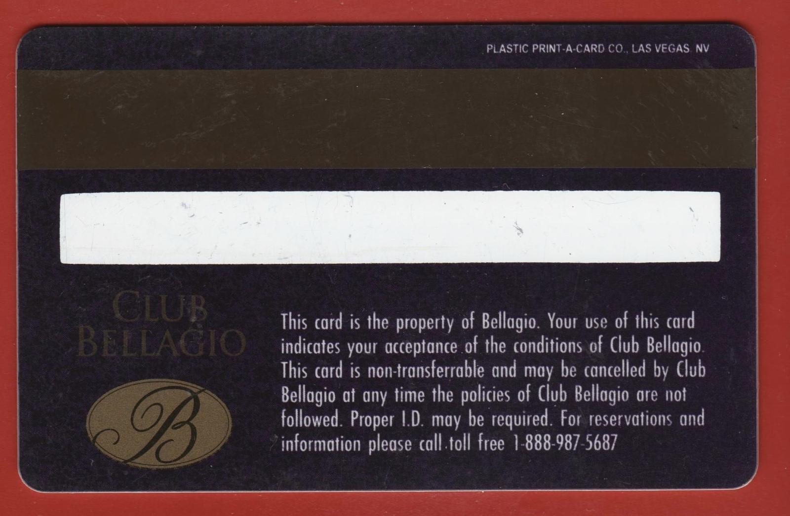 Casino Players Club Slot Card. Bellagio, Las Vegas, NV. PC41.