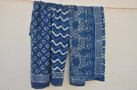 4 Pc Indigo Blue  Color Indian Hand Block Print Scarves Handmade Cotton ... - $99.99
