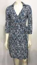 Ann Taylor Womens 0 Black Blue White Wrap Dress Collared 3/4 Sleeves Knee-Length - $58.41