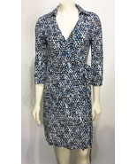 Ann Taylor Womens 0 Black Blue White Wrap Dress Collared 3/4 Sleeves Kne... - $58.41