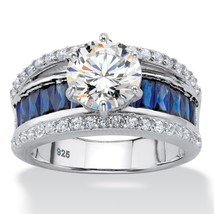3.57 TCW Round Cubic Zirconia and Simulated Sapphire .925 Silver Engagem... - €36,92 EUR