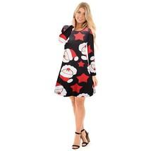 Women Long Sleeves Cartoon Christmas Element Printed Bottoming Dress - $22.22