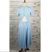 New LUSH size M cutout back striped short sleeves blue midi dress - $25.00