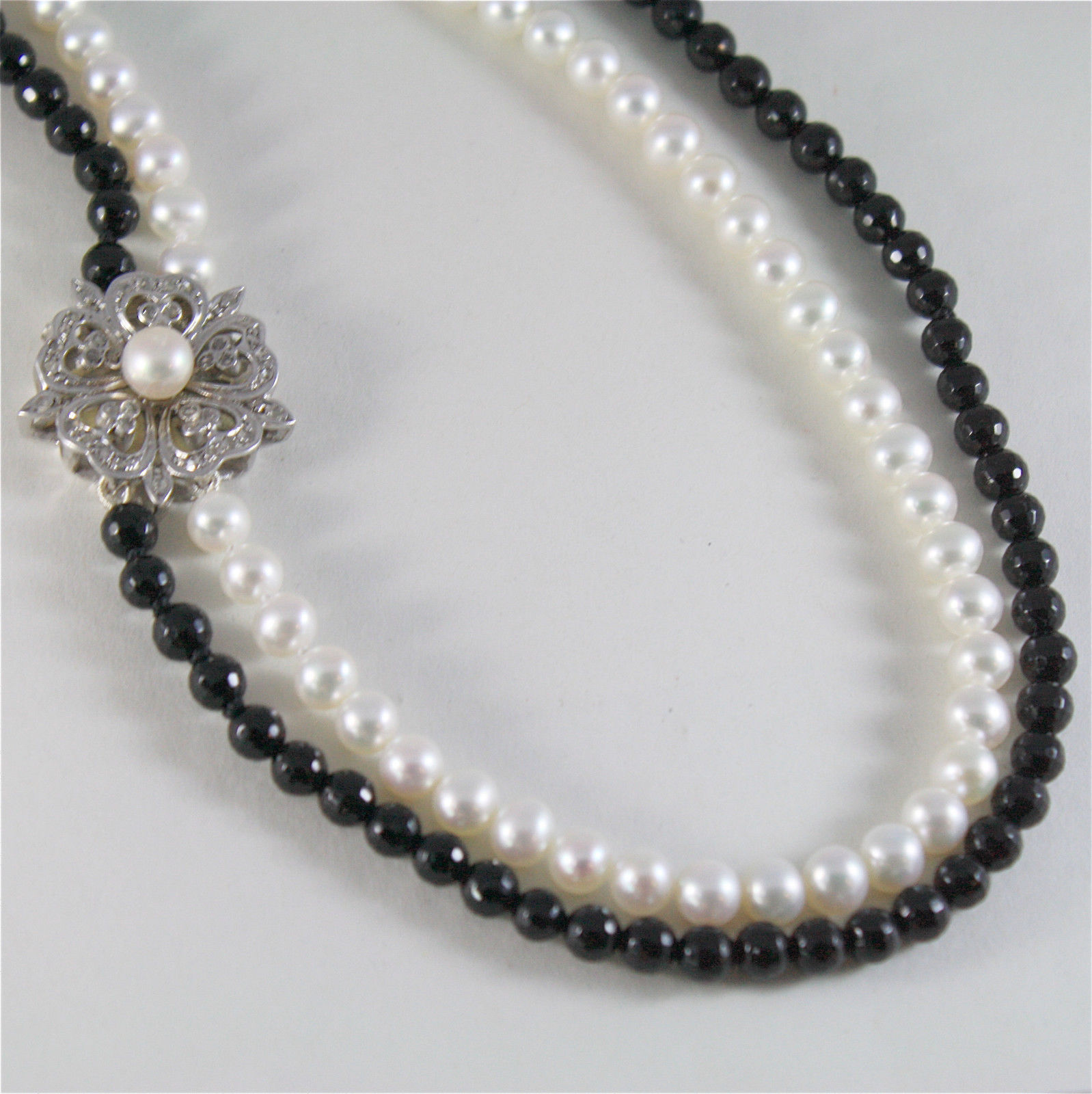 SOLID 18K WHITE GOLD NECKLACE WITH ROUND PEARLS, ONYX AND DIAMONDS MADE IN ITALY