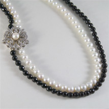SOLID 18K WHITE GOLD NECKLACE WITH ROUND PEARLS, ONYX AND DIAMONDS MADE IN ITALY image 1