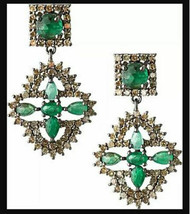 4.10Ctw Rose Cut Diamond 925 Silver Emerald Vintage Reproduction Earrings Ps464 - $621.00