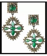 4.10Ctw Rose Cut Diamond 925 Silver Emerald Vintage Reproduction Earring... - $621.00