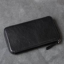 On Sale, Full Grain Leather Long Wallet, Handmade Card Holder Wallet, Long Clutc image 2