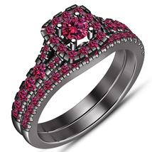 Round Pink Sapphire 2 Piece Engagement Wedding Ring Set 14K Black Gold Finish - $97.99