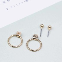 FAMSHIN 2017 Fashion jewelry cute gold color Geometric round metal stud ... - $20.00