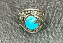 Vintage Navajo Sterling Silver Turquoise Ring Size 10.25 by E. Bahe - $1.193,17 MXN