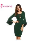 N lace up asymmetrical package hip dress spring autumn 3 4 sleeve flare sleeve bodycon thumbtall
