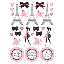 Party in Paris Birthday Favors Sticker Sheets Eiffel Tower - $4.29 CAD