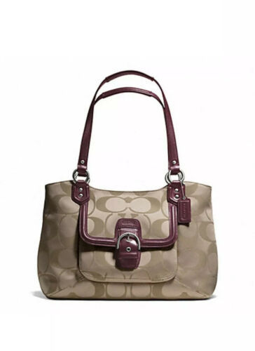 Primary image for NWT COACH CAMPBELL SIGNATURE BELLE CARRYALL (COACH F25294) SILVER/KHAKI/BURGUNDY