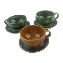 Pottery Set of 3 MCM Vintage Tea Cups & Saucers Green Brown Marked HH - $27.71
