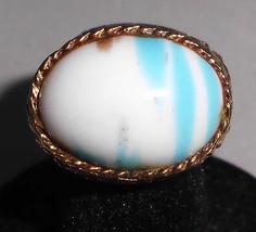 VTG UNIQUE Gold Tone White Blue Metallic Bronze Glass Ring Size 8.25 Adj... - $14.85