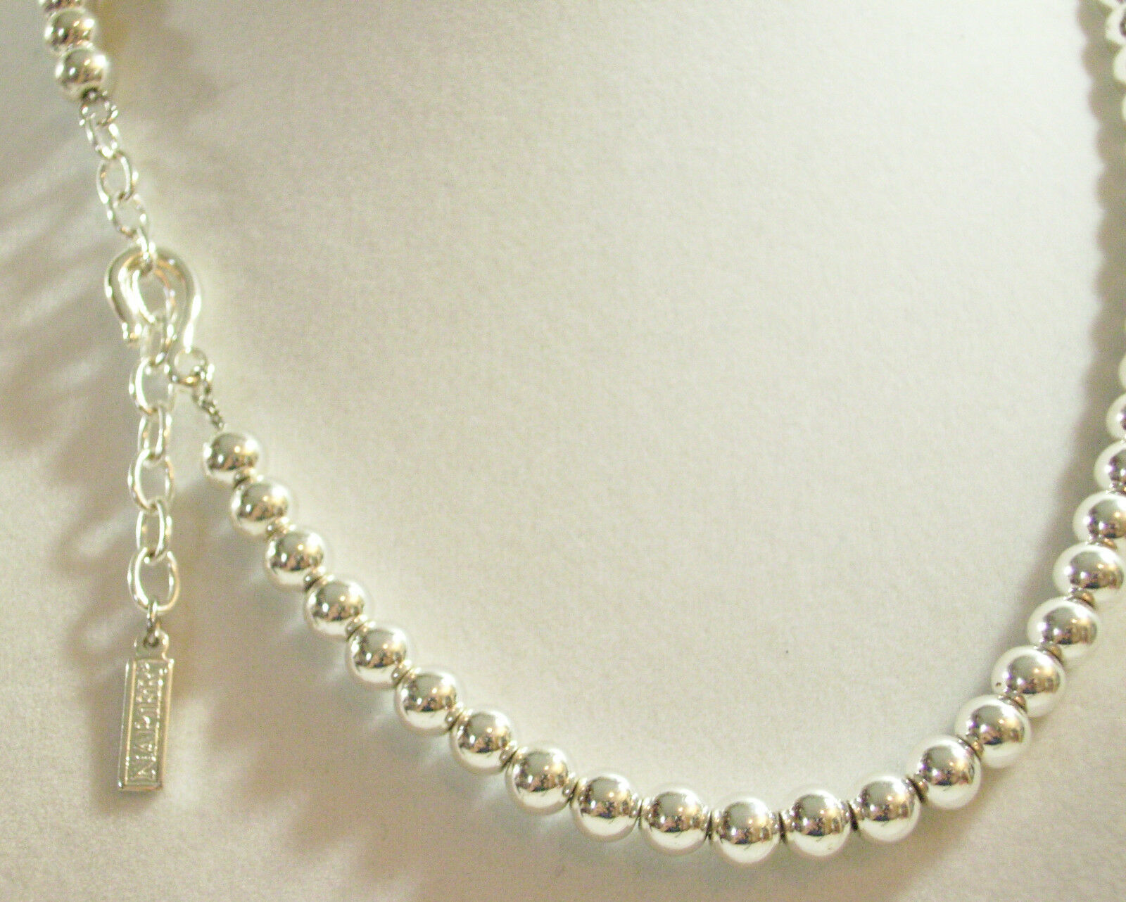 NAPIER Small SILVER Plate BALLS BEADS Chain Choker Necklace Classic Vintage