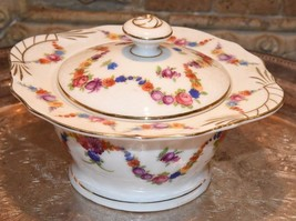 EPIAG Fine China Czechoslovakia 9195 White Sugar Bowl Floral Swag Pink R... - $34.99