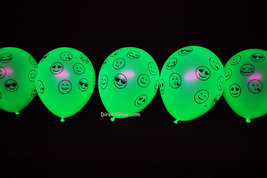 10 Pack Neon Yellow 11 inch UV Blacklight Reactive Latex Emoji Balloons - $8.50