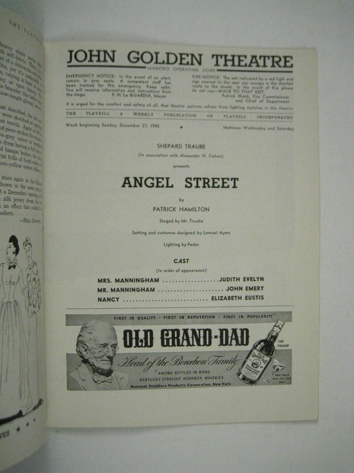 Angel Street Playbill 1942 John Golden Theatre Leo Carroll Judith Evelyn