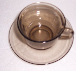Arcoroc Cup & Saucer Set Tan Brown Color Collectible Glass- Made In France