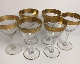Vintage Mid Century Elegant Crystal Cocktail Martini Glasses Gold Trim - $48.51