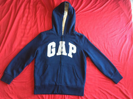 Gap Kids Boys Hoodie Zip Up Jacket Faux Fur Sherpa Lined Sweatshirt Navy... - $42.56