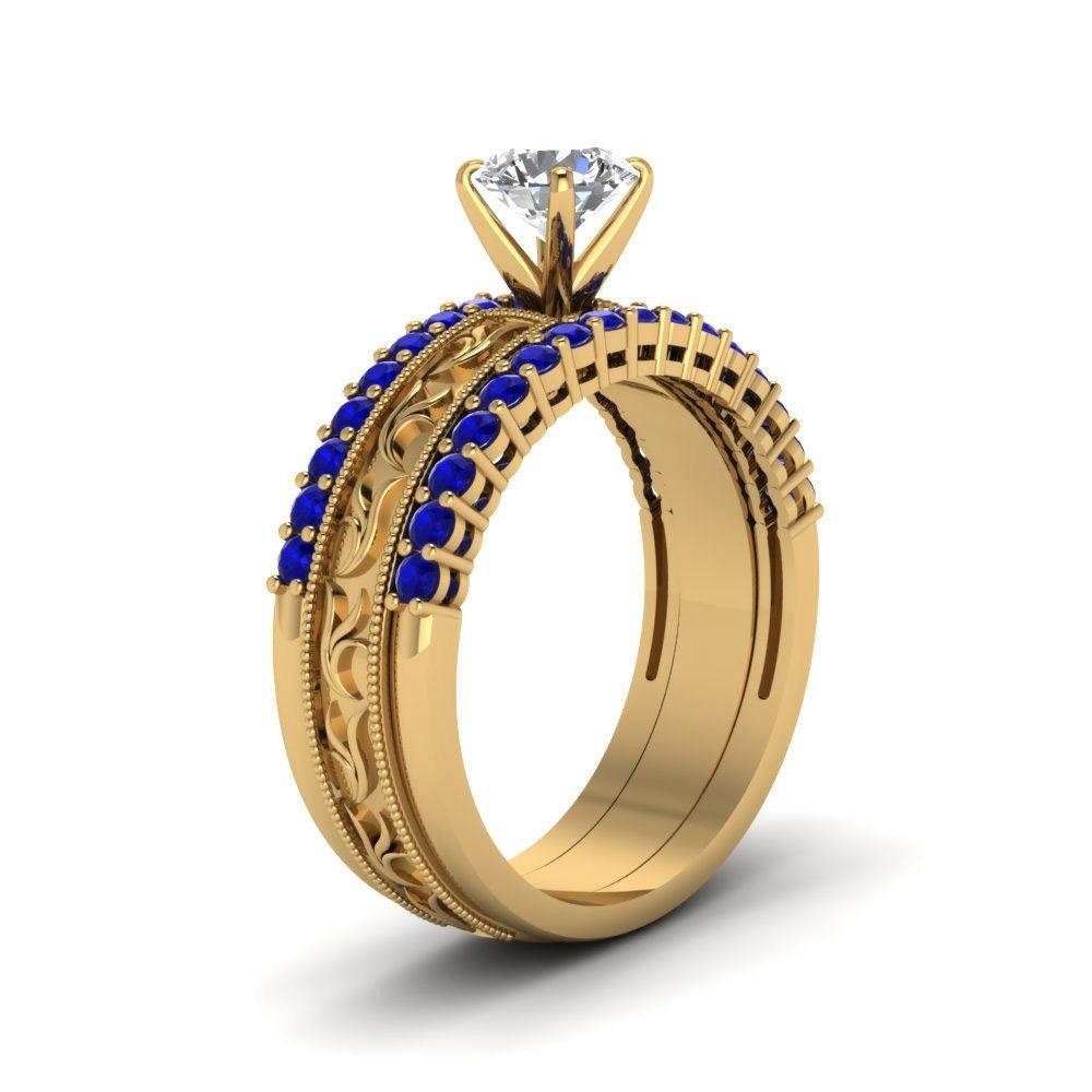 14k Yellow GP 925 Silver Round Cut CZ & Blue Sapphire Engagement Ring 3Pcs Set