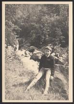 YZ2708 Vercelli 1960 - Photo Anfossi - Sitting On A Rock - Vintage Photo - $20.83