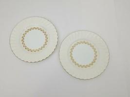 "Minton China Cheviot Salad Side Plates Set of 2 Ivory Gold 7 7/8"" S534 England - $19.34"