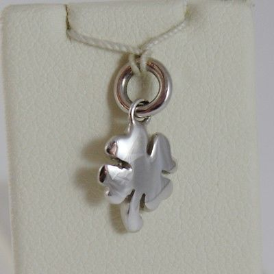 18K WHITE GOLD FOUR LEAF CLOVER CHARM PENDANT 11 MM FLAT SMOOTH MADE IN ITALY