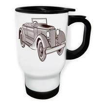 Vintage cars collection Retro Old White/Steel Travel 14oz Mug g978t - $17.79