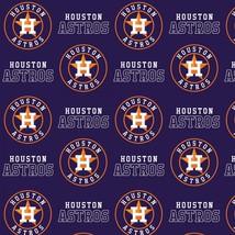 "Houston Astros Baseball Fabric-60"" Wide-Astros Logo-BTY-Navy Background - $12.95"