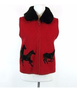 Boiled Wool Red Vest Size S Horse Appliques Removable Fur Collar - $19.99