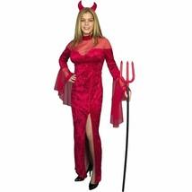 Charades Rosso She Diavolo Devilina Abito Vestito Costume Halloween Nip