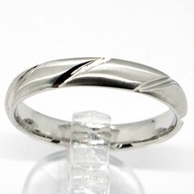 18K WHITE GOLD BAND BRAIDED RING, BRAID WOVEN, SATIN, MADE IN ITALY image 1
