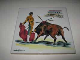 """Vtg Ceramic Hand Painted Spanish Matador Bull Tile Bullfighter 8"""" Trivet... - $12.86"""