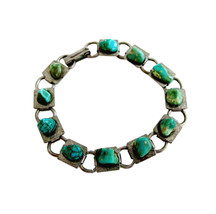 Vintage 60's Silver Tone Book Chain with Turquoise Nuggets Link Bracelet - $18.00