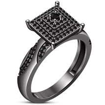 Black Gold Finish Solid 925 Sterling Silver Round Cut Diamond Engagement... - $104.04 CAD