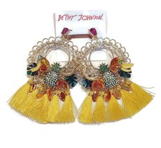 NWT $85 BETSEY JOHNSON Yellow Mixed Fruit Chandelier Earrings - $55.99