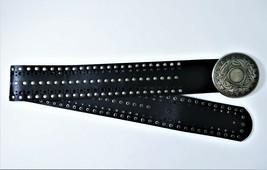 Wide Black Studded Belt Vegan Faux Leather Unisex Size Sm/Med Metal Buckle - $24.65