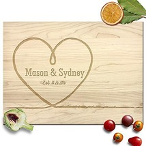 Froolu Big Heart personalized cutting board for wedding for Newly Wed Co... - $41.73