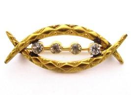 Antique Old Victorian Low Karat Solid Gold Or Gold Filled Paste Brooch P... - $82.16
