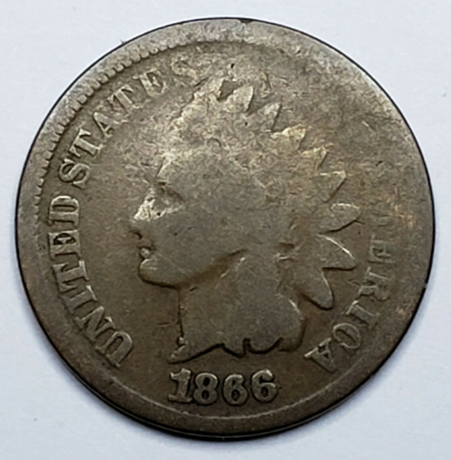 1866 Indian Head Cent Penny Coin Lot 519-88
