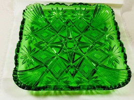 VTGEmerald green Cut Crystal Square scalloped glass serving bowl dish  - $51.48